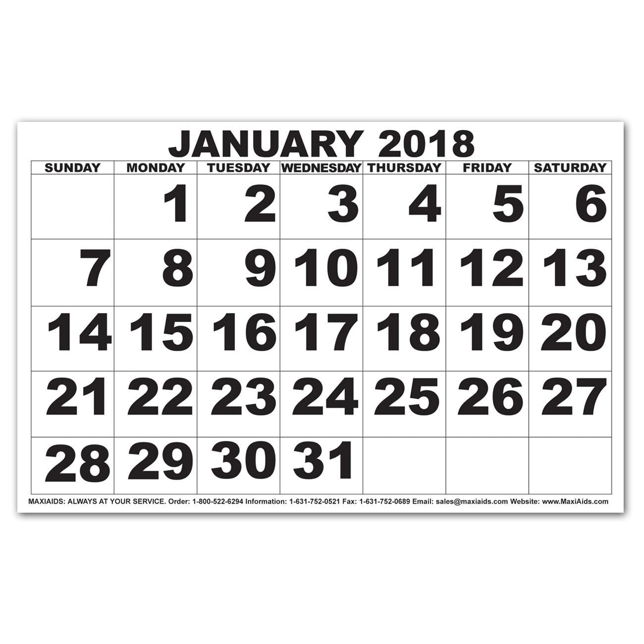 Low Vision Print Calendar - 2018