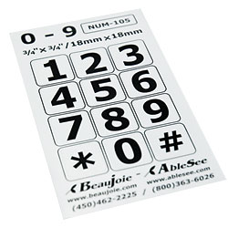 Telephone Stickers - Black on White - Numbers Only