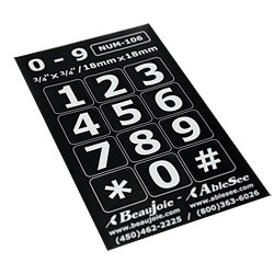 Telephone Stickers - White on Black - Numbers Only
