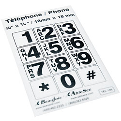 Telephone Stickers - Black on White - Alphanumeric - click to view larger image