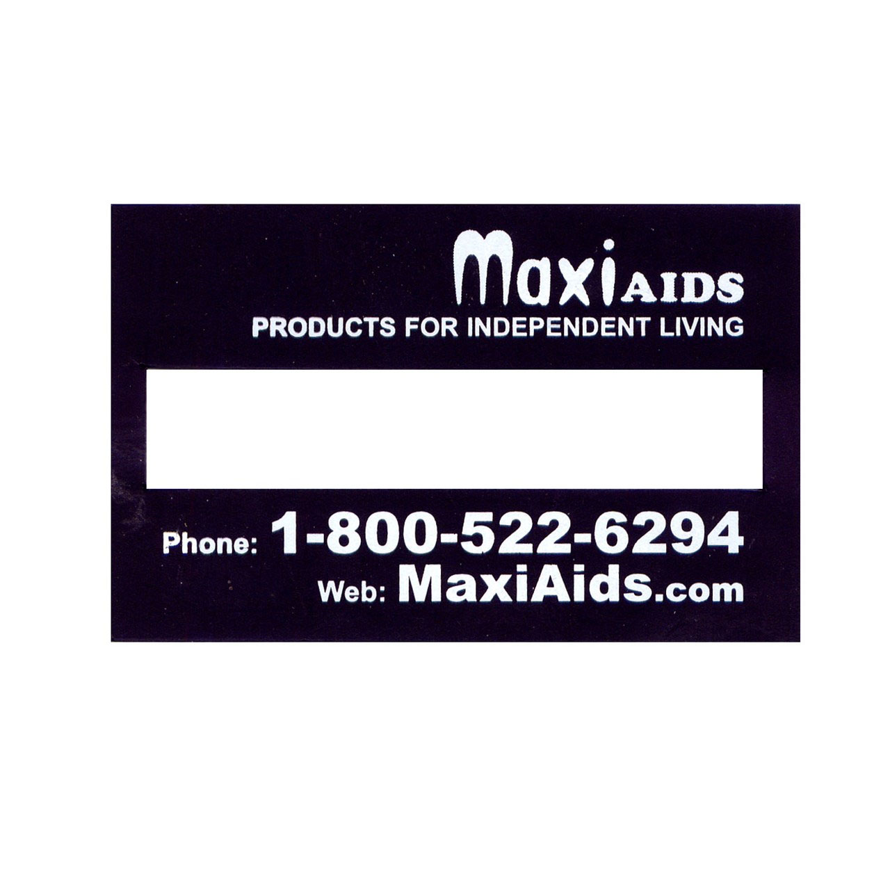 Signature Guide - Regular Black Plastic - MaxiAids Logo - click to view larger image