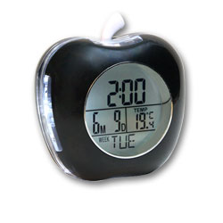 Apple Shaped Talking Alarm Clock with Temperature and Calendar - Black
