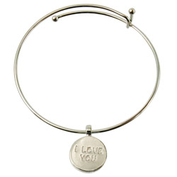 ILY Round Charm Bangle - Silver - click to view larger image
