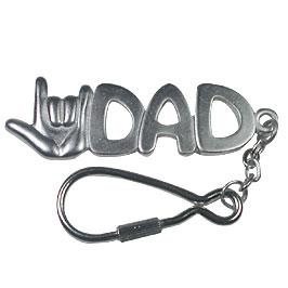 I Love You Dad Keychain -Silver
