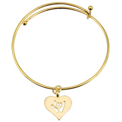 ILY Heart Charm Bangle - Gold - click to view larger image