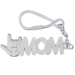 I Love You MOM Keychain - Matte Silver Price: $11.95