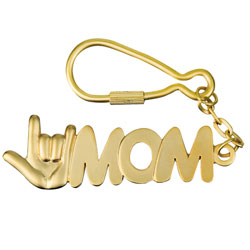 I Love You MOM Keychain - Matte Gold Colored Price: $11.95