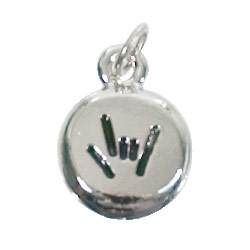 ILY Pebble Charm- Silver Plated - click to view larger image