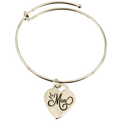 ILY Mom Charm Bangle - Silver - click to view larger image
