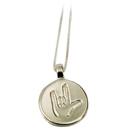 ILY Round Charm on 18-in Sterling Chain - Silver Price: $20.00