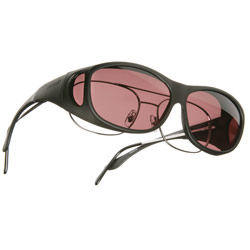 Cocoons Low Vision OveRx Eyewear - Slim Line: Black Frame/Boysenberry Lens Price: $29.95