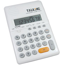 Maxi Handheld Talking Calculator with Alarm - White Price: $12.95