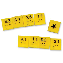 Extra Yellow Tiles- Braille Scrabble- Bag of 100