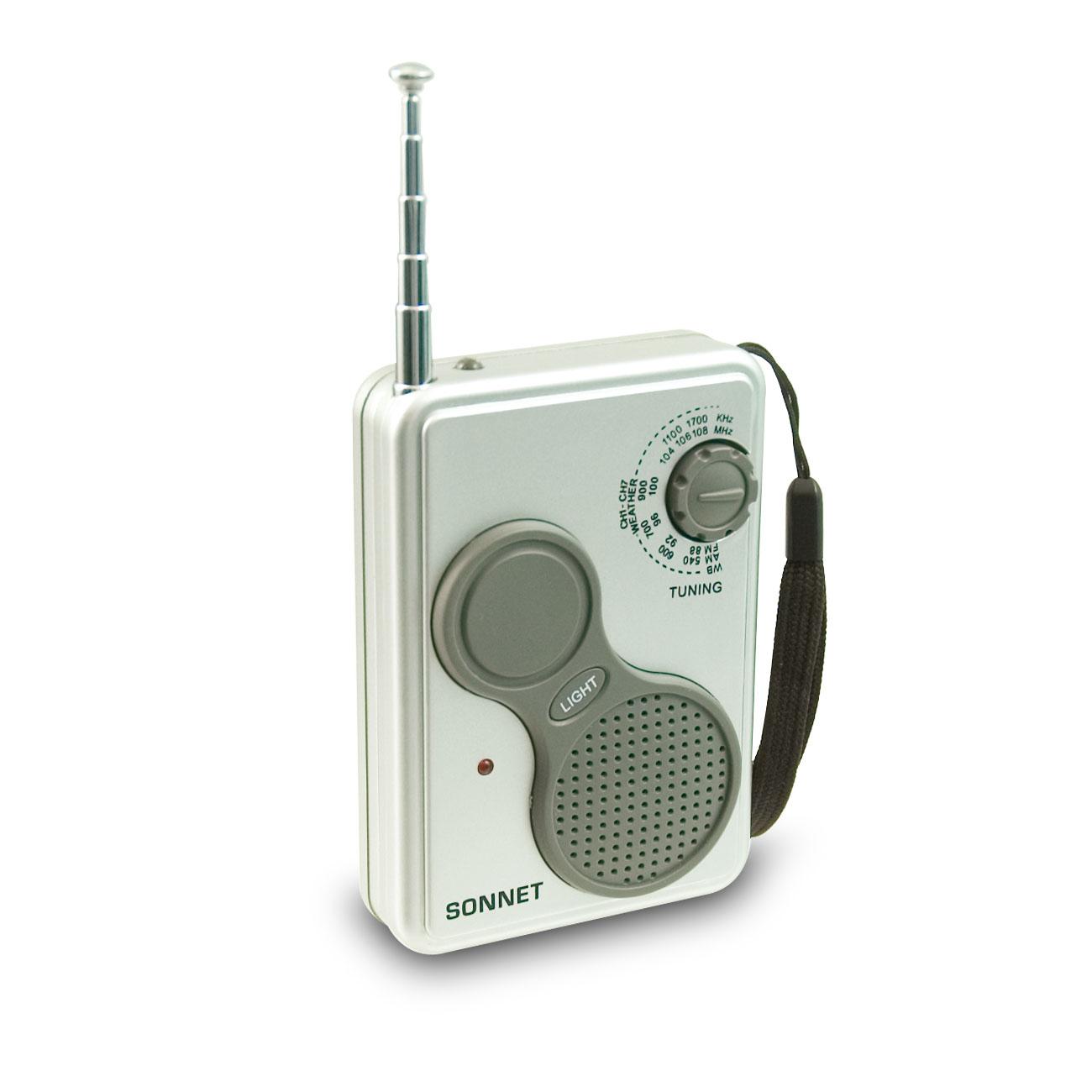 Portable Pocket-Size AM-FM Weather Band LED Flashlight Radio
