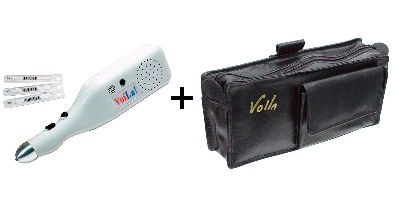 VoiLa Voice Label System + Leather Case - MaxiAids Bundle
