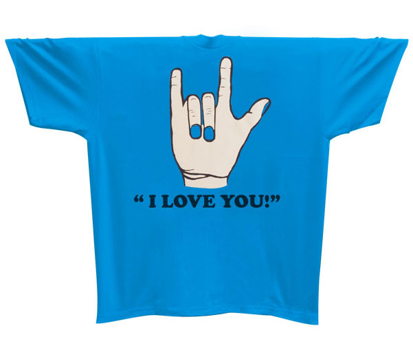 I Love You T-Shirt -Turquoise  - X-Large