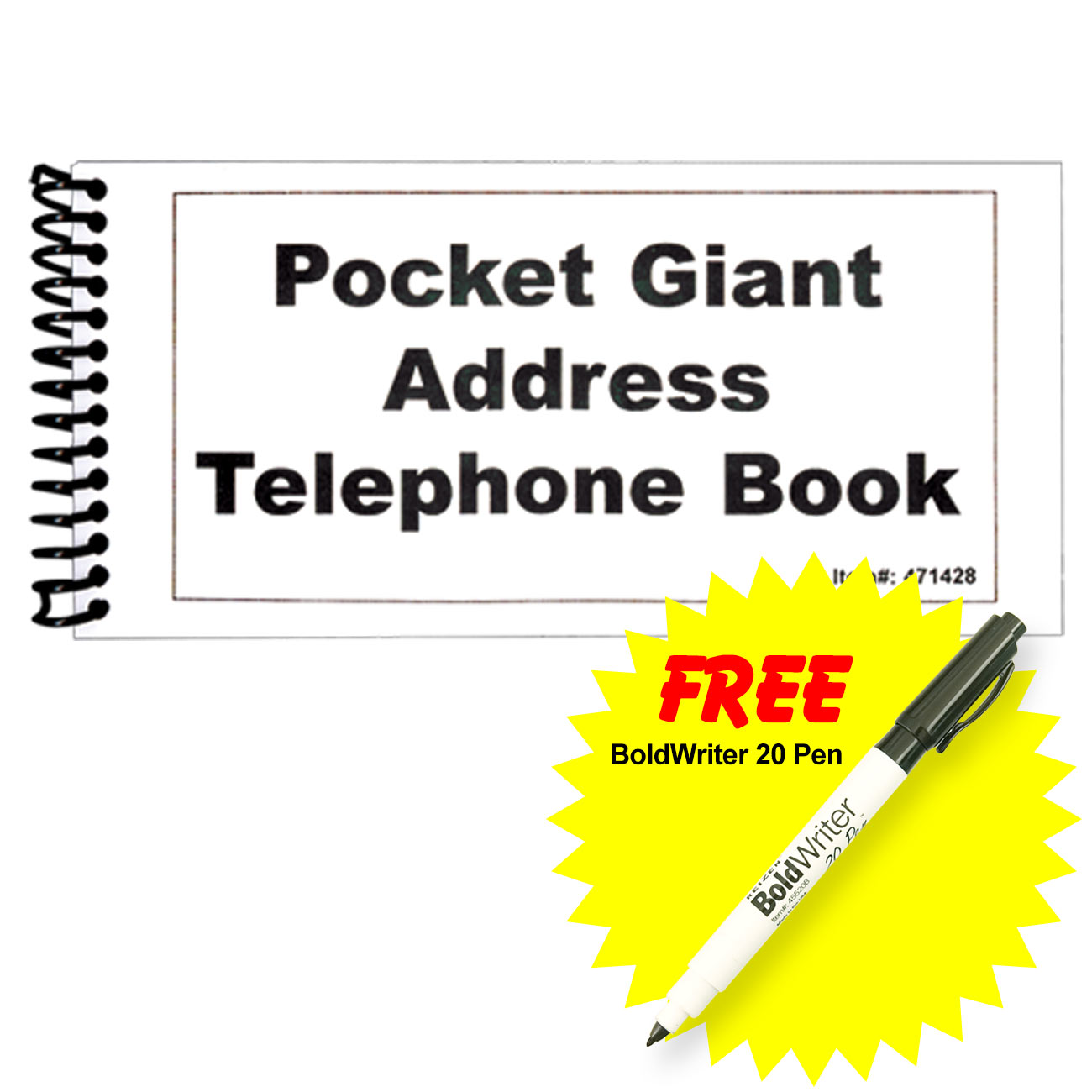 Pocket Large Print Address Book with BoldWriter 20 Pen