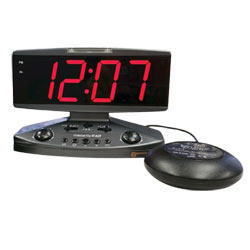Wake Up Call Alarm Clock with Phone Alert Strobe Light and Bed Shaker Price: $79.95