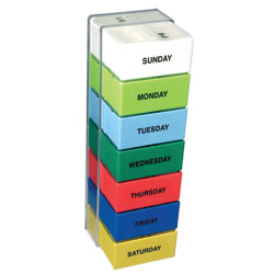 The 7 Day Color 2 Compartment Deep Capacity Pill Boxes Price: $13.95