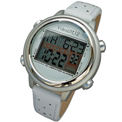 VibraLITE 12 Vibration Watch: Silver/White Price: $76.95