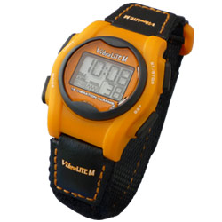 VibraLITE Mini Vibration Watch-Black-Orange Hook-Loop Band Price: $39.95