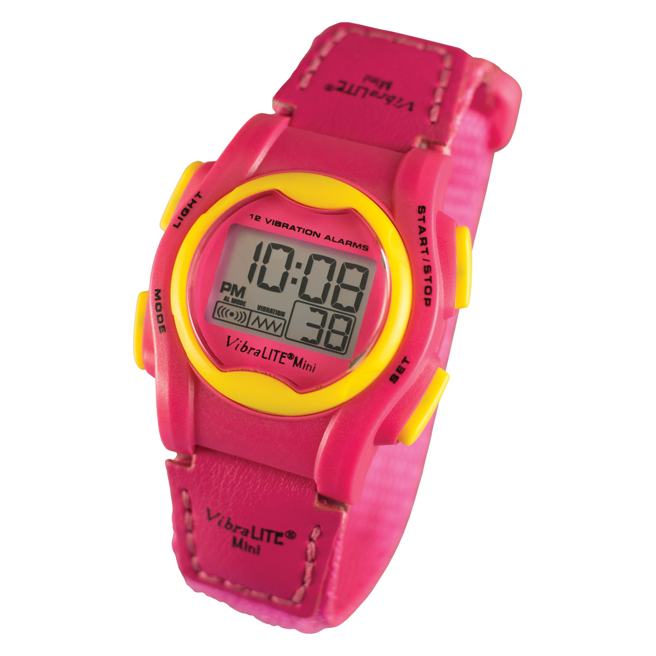 VibraLITE Mini Vibration Watch - Hot Pink with Yellow Bezel-Buttons - click to view larger image