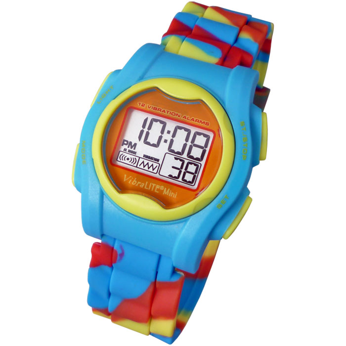 VibraLITE Mini Vibration Watch VM-SMC with Multicolored Silicone Band - click to view larger image