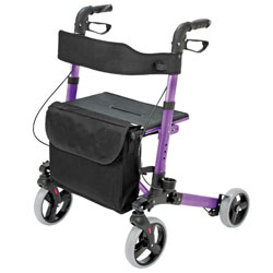 HealthSmart Gateway Euro Style Folding Aluminum Rollator - Purple - click to view larger image