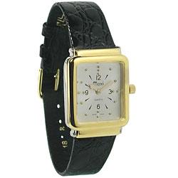 Unisex Bi-Color Quartz Braille Watch with Leather Band
