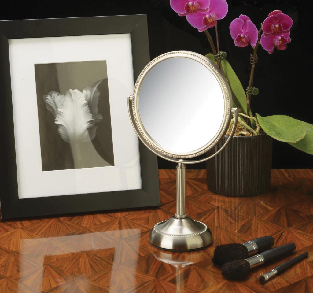 Tabletop Two-Sided 1x-10x Swivel 6-inch Mirror - Nickel Finish - click to view larger image