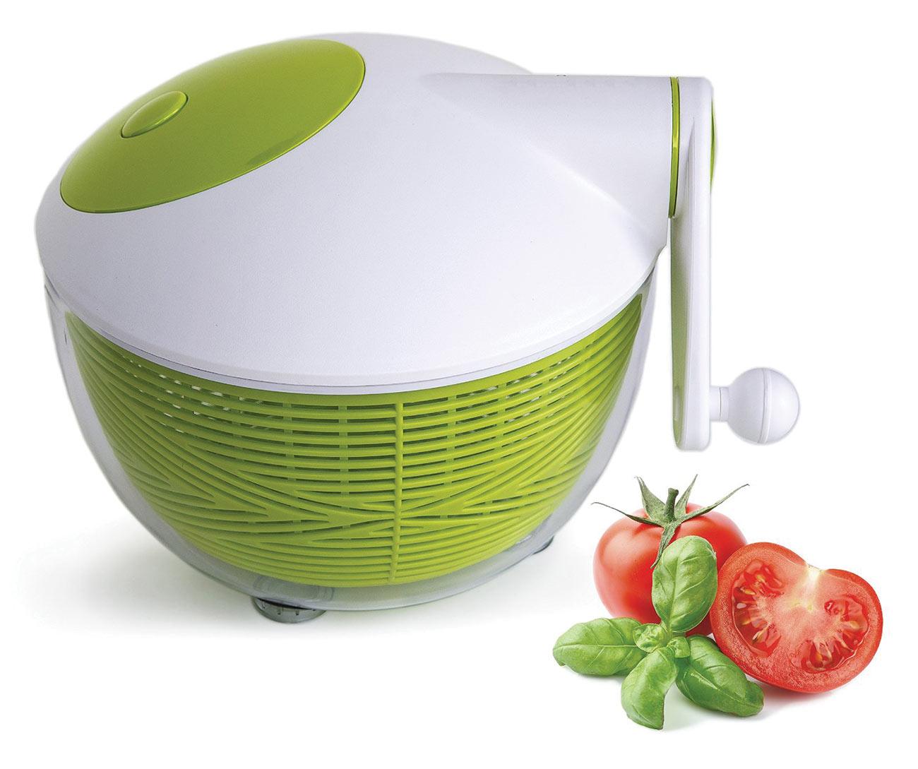 Starfrit 5-Quart Salad Spinner- Green-White