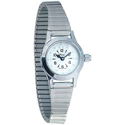 Womens Braille Quartz Watch with Chrome Expansion Band