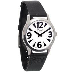 Mens Low Vision Manual Watch-White-Chrome-Leather - click to view larger image