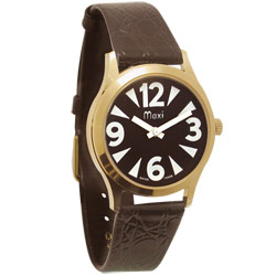 Mens Low Vision Manual Watch-Black-Gold-Tone-Leather