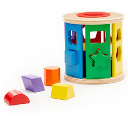 Melissa and Doug Tactile Match and Roll Shape Sorter Drum- 12 Pieces