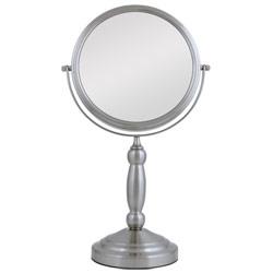 Swivel Vanity Mirror - Pedestal- Satin Nickel 10X-1X