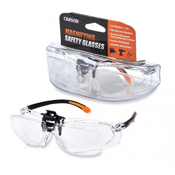 Carson Magnifying Safety Glasses - 2.5 Diopter + 1.5x - click to view larger image
