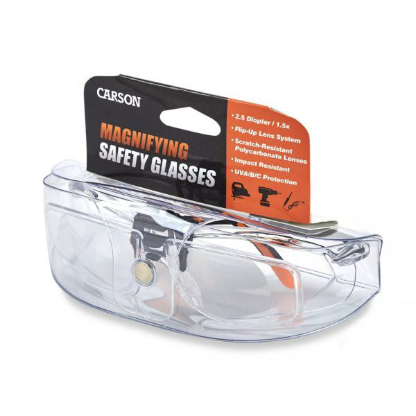 Carson Magnifying Safety Glasses - 2.5 Diopter + 1.5x