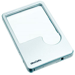 UltraOptix Lighted LED Wallet Magnifying Lens - 2x With 6x Insert - click to view larger image