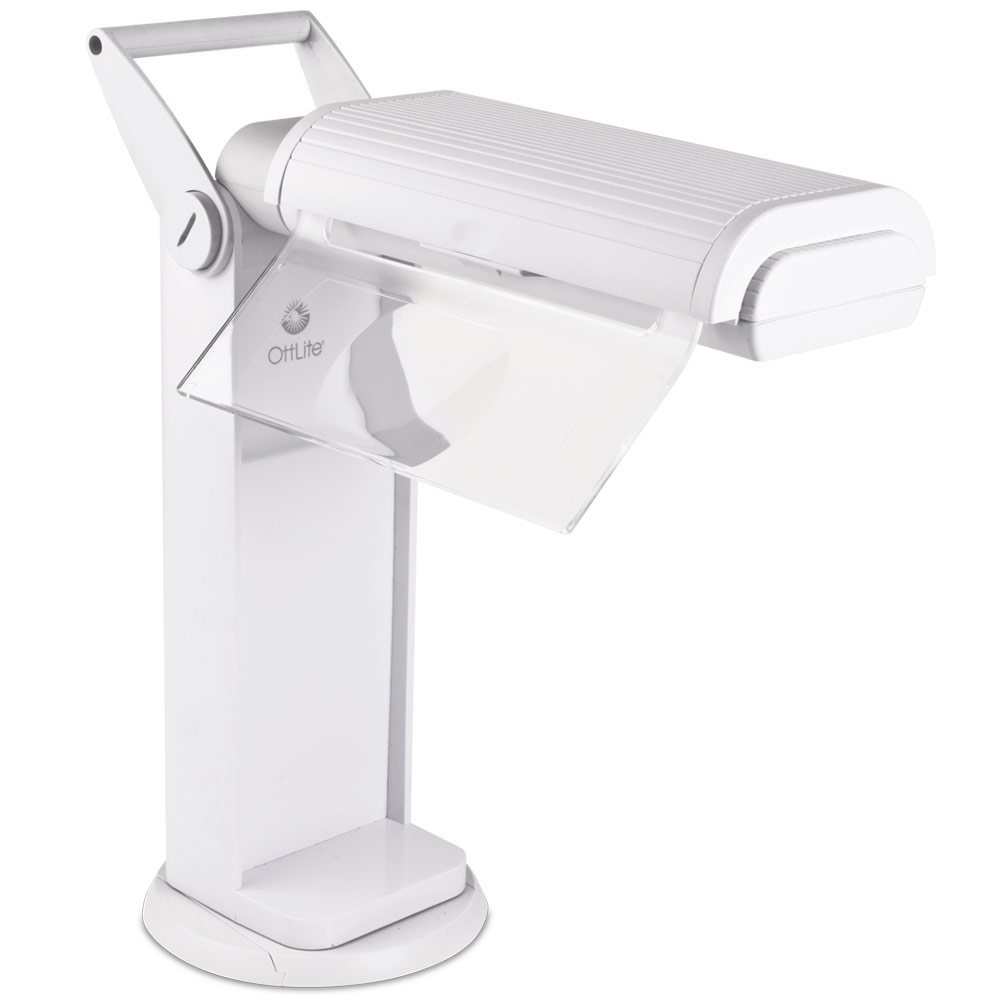 OttLite Classic 2x Magnifier Task Lamp with Swivel Base - White