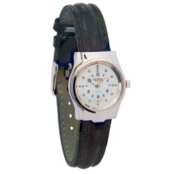 REIZEN Braille Womens Watch -Chrome, Leather Band Price: $74.95