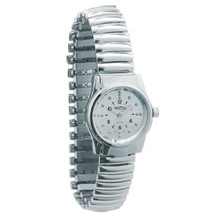 REIZEN Braille Womens Watch -Chrome, Exp. Band - click to view larger image