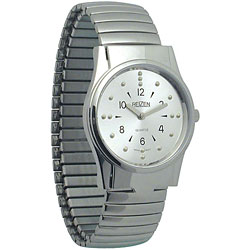 REIZEN Mens Braille Watch -Chrome, Exp. Band - click to view larger image