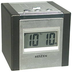 Reizen Talking LCD Alarm Cube Clock - Silver and Black