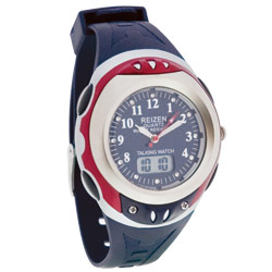 Reizen Digital Analog Water-Resistant Talking Watch- Blue and Red