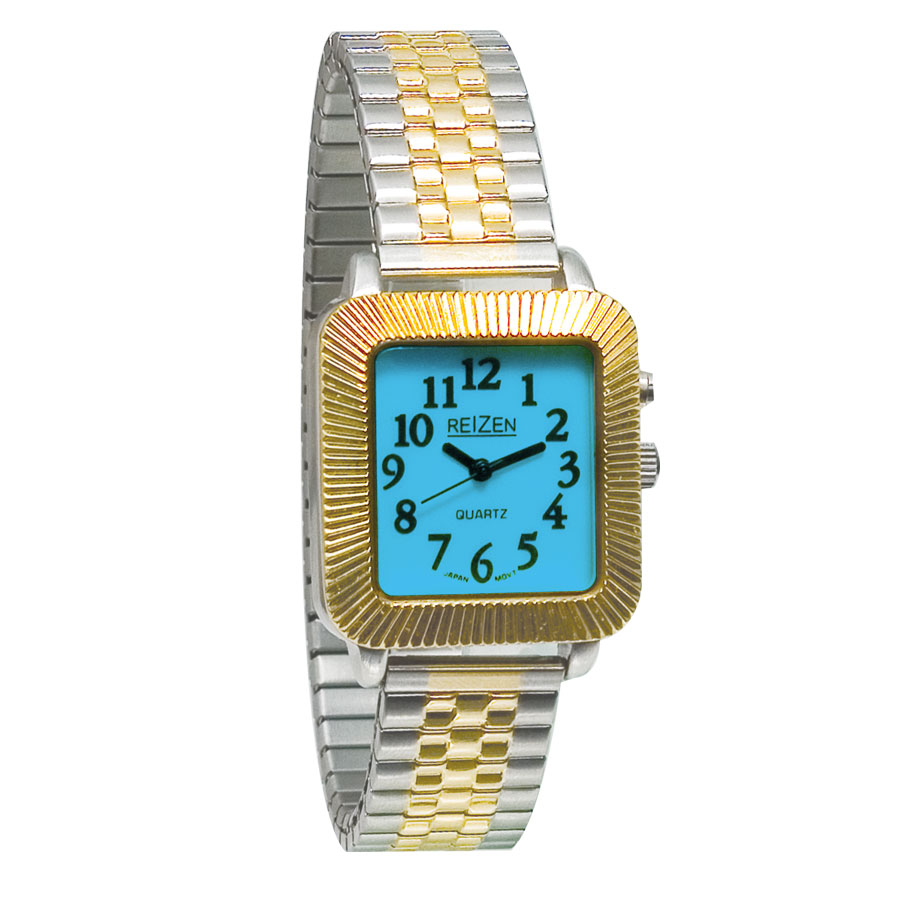 Reizen Unisex Glow-in-the-Dark Watch - Square Face with Expansion Band Price: $14.95