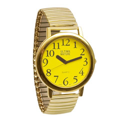 Ultima Mature Low Vision Unisex Watch- Yellow Face - click to view larger image
