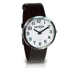 Reizen Low Vision Unisex Watch- Black Leather Band