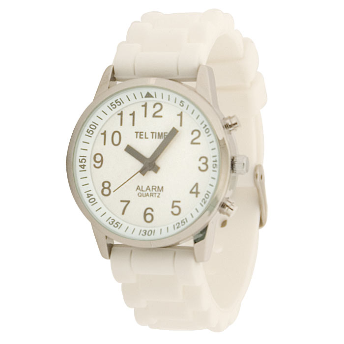 Ladies Touch Talking Watch- Large Face- White Rubber Band- Spanish