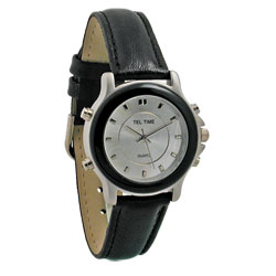 Ladies Tel-Time Chrome Talking Watch with Leather Band Price: $29.95